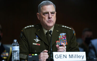 Chairman of the US Joint Chiefs of Staff Gen. Mark Milley speaks during a Senate Armed Services Committee hearing on the conclusion of military operations in Afghanistan and plans for future counterterrorism operations on Sept. 28, 2021, on Capitol Hill in Washington. (AP Photo/Patrick Semansky, Pool)