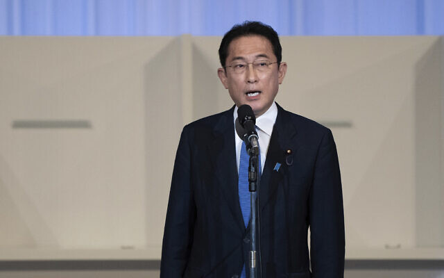 Japan's former foreign minister Fumio Kishida speaks after being announced the winner of the Liberal Democrat Party leadership election in Tokyo, September 29, 2021. (Carl Court/Pool Photo via AP)