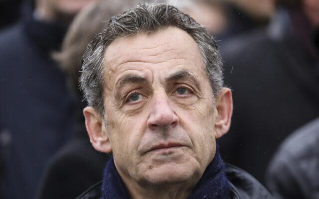 French former president Nicolas Sarkozy attends a ceremony at the Arc de Triomphe in Paris, November 11, 2019. (Ludovic Marin/Pool via AP, file)