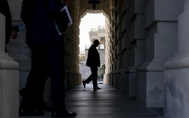 US Senator Lindsey Graham arrives at the US Capitol for votes, September 29, 2021, in Washington. (AP Photo/Andrew Harnik)