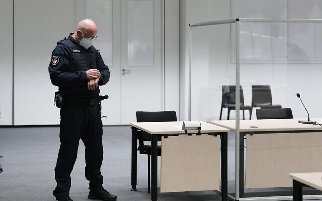 A judicial officer in the courtroom prior to the trial of Irmgard Furchner, a 96-year-old former secretary for the SS commander of the Stutthof concentration camp, in Itzehoe, Germany, September 30, 2021. (Markus Schreiber/AP)