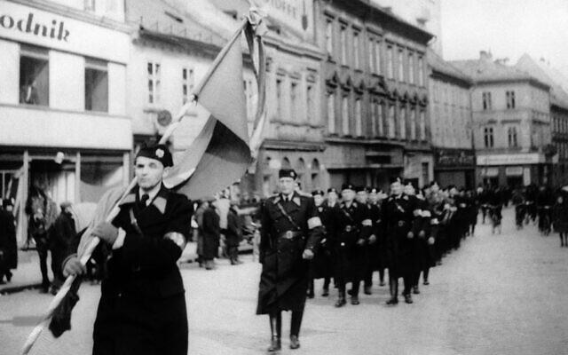 Illustrative: Slovak state police, the Hlinka Guard, march through Bratislava, Slovakia on March 14, 1939. (AP Photo)