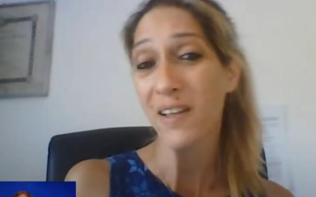 Aya Biran-Nirko speaks with the Kan public broadcaster, Sepetember 12, 2021. (Video screenshot)