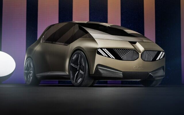 The new BMWi Vision show car incorporates smart glass tech into the headlight systems by Israeli company Gauzy. (Courtesy)