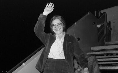 Prisoner of Zion Ida Nudel and her dog arriving aboard a private Boeing jet, owned by billionaire Armand Hammer, at Ben Gurion Airport, October 15, 1987. (Nati Harnik/GPO)