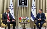 Bahrain Ambassador to Israel Khaled Al Jalahma (left) and President Isaac Herzog in Jerusalem on September 14, 2021. (GPO)