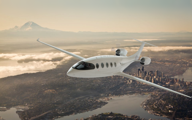 A rendering of the Alice all-electric plane by Eviation Aircraft in-flight, August 2021. (Eviation)