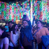 A light show in the City of Manila, capital of the Philippines, on November 18, 2017. (Nati Shohat/Flash90)