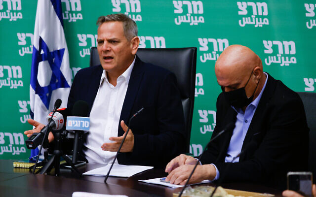 Health Minister Nitzan Horowitz, left, and Minister for Regional Cooperation Issawi Frej, right attend a Meretz faction meeting at the Knesset, in Jerusalem, on July 12, 2021. (Olivier Fitoussi/Flash90)