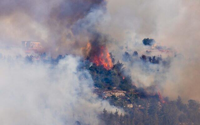 A forest fire near Givat Ye'arim, on August 16, 2021. (Yonatan Sindel/Flash90)