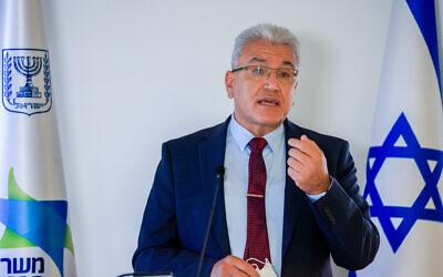 Coronavirus czar Prof. Salman Zarka attends a press conference about the coronavirus in Jerusalem, on August 29, 2021. (Olivier Fitoussi/Flash90)