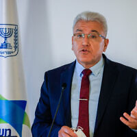Coronavirus czar Prof. Salman Zarka attends a press conference about the coronavirus in Jerusalem on August 29, 2021. (Olivier Fitoussi/Flash90)