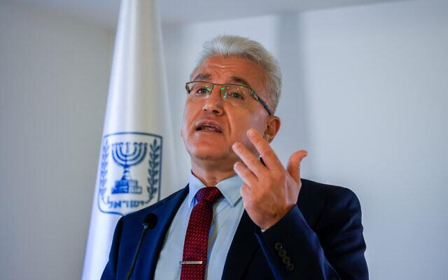 Coronavirus czar Prof. Salman Zarka attends a press conference about the Coronavirus, in Jerusalem, on August 29, 2021. (Olivier Fitoussi/Flash90)