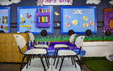 View of a classroom in a girls school in Tzfat, August 30, 2021.  (David Cohen/Flash90)