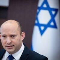 Prime Minister Naftali Bennett leads a cabinet meeting at the Prime Minister's Office in Jerusalem on September 5, 2021. (Yonatan Sindel/Flash90)