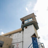A prison guard is seen in a watch tower at Gilboa prison, in northern Israel, September 6, 2021. (Flash90)