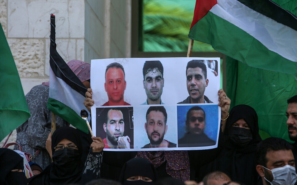 Palestinians attends a rally in solidarity to the escape of the six Palestinian prisoners from the Israeli prison of Gilboa on September 8, 2021, in Khan Yunis in the southern Gaza Strip. (Abed Rahim Khatib/Flash90)