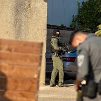 Police are seen in the northern village of Sandala as they search for escaped Palestinian security prisoners, on September 10, 2021. (Flash90)