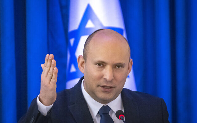 Prime Minister Naftali Bennett leads a cabinet meeting at the Ministry of Foreign Affairs in Jerusalem, on September 12, 2021. (Olivier Fitoussi/Flash90)