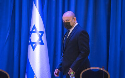 Prime Minister Naftali Bennett leads a cabinet meeting at the Foreign Ministry in Jerusalem, on September 12, 2021. (Olivier Fitoussi/Flash90)