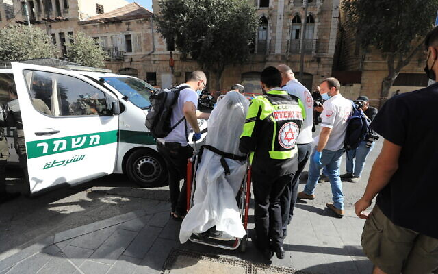 The scene of a stabbing attack outside the Central Bus Station in Jerusalem on September 13, 2021. (Olivier Fitoussi/Flash90)