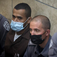 Munadil Nafiyat, one of the six Palestinian security prisoners who escaped from the high-security Gilboa Prison, attends a remand hearing at the Nazareth Magistrate's Court court, September 19, 2021. (David Cohen/ Flash90)