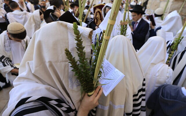 Worshippers pray in front of the Western Wall in Jerusalem's Old City, during the priestly blessing for the festival of Sukkot, on September 22, 2021. (Olivier Fitoussi/Flash90)
