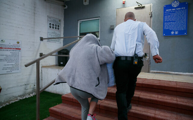 Carmel Mauda, former owner of a daycare center who was convicted of physically abusing toddlers, is seen arriving  in Neve Tirtza to serve being her 9.5 years prison sentence on September 30, 2021. (Flash90)