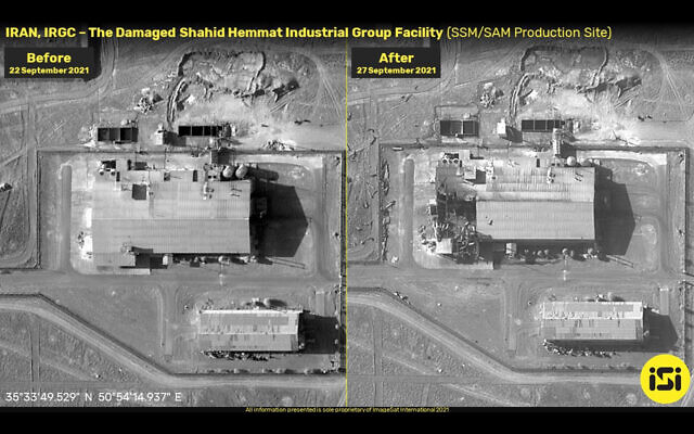 Before and after photographs from an explosion at an alleged Iranian missile base, on September 27, 2021. (ImageSat International)