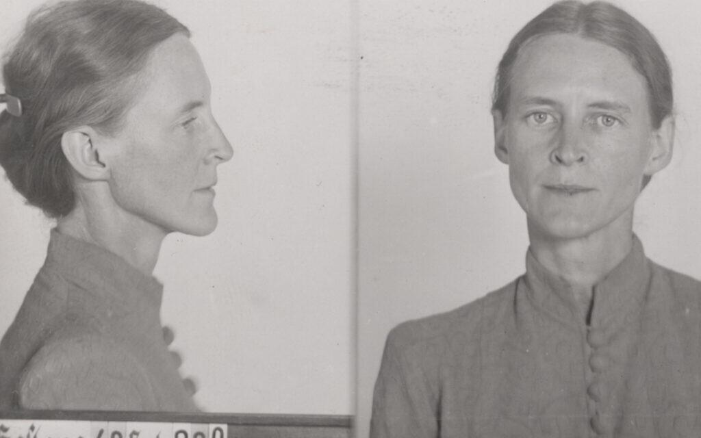 Fragment zdjęć z kubka Gestapo przedstawiający Mildred Harnack po jej aresztowaniu, 1942 r. (Bundesarchiv, R 58/03191-228)