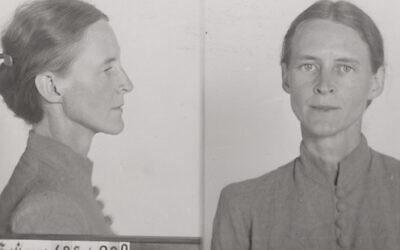 Detail from Gestapo mug shots of Mildred Harnack following her arrest, 1942. (Bundesarchiv, R 58/03191-228)