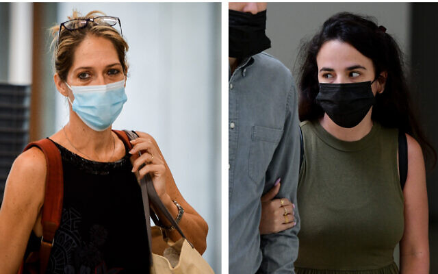 Paternal aunt Aya Biran-Nirko (left) and maternal aunt Gali Peleg arrive at a Tel Aviv family court for a hearing on custody over Eitan Biran, 6, the only survivor of a cable car disaster in Italy, on September 23, 2021. (Avshalom Sassoni/Flash90)