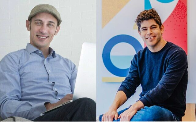 Shopify founder Tobias Lutke, left, and Yotpo founder and CEO Tomer Tagrin, right. (Courtesy, Mor Shani)