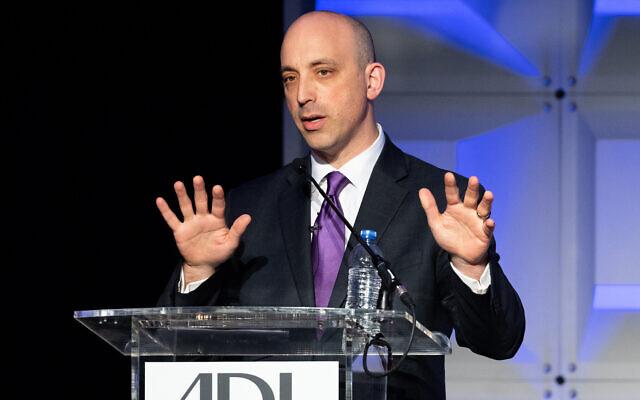 Anti-Defamation League CEO Jonathan Greenblatt speaks at the group's 2018 National Leadership Summit in Washington, D.C. (Michael Brochstein/SOPA Images/LightRocket via Getty Images/JTA)