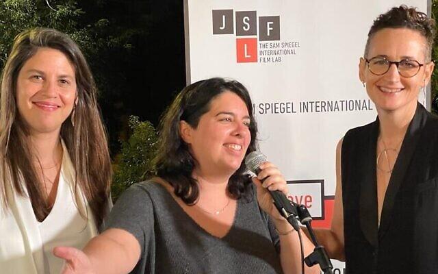 From left: Sam Spiegel director Dana Blankstein Cohen, prizewinner Netalie Braun and film lab director Aurit Zamir at the 9th edition of the Sam Spiegel film lab, August 28, 2021 (Courtesy Yossi Zwecker)