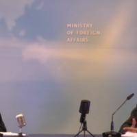 Bahrain's ambassador Khaled Al Jalahma (right) speaks with Foreign Ministry spokesman Lior Haiat during a record-breaking interview marathon, on September 14, 2021 (Screenshot)