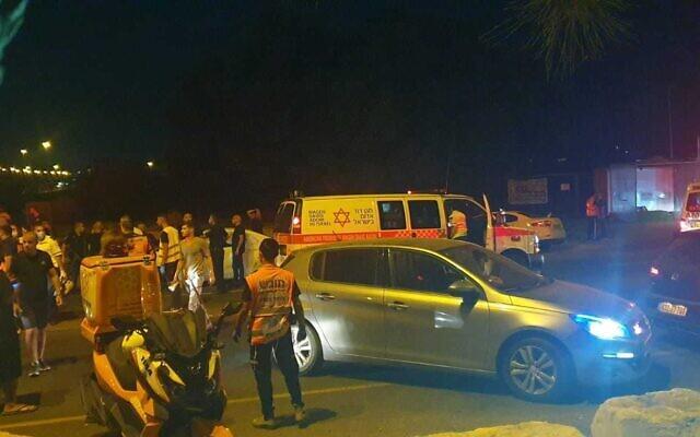 The scene of a deadly shooting at Nitzanei Oz Junction near Netanya on September 2, 2021. (Courtesy Yoni Uziyahu/ United Hatzalah)