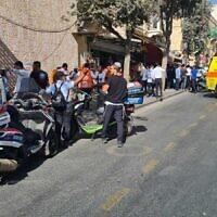 Paramedics at the Jerusalem Central Bus Station after a stabbing attack, September 13, 2021. (Zaka)
