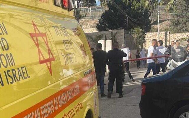 Murder scene in Nazareth on September 24, 2021. (Magen David Adom)