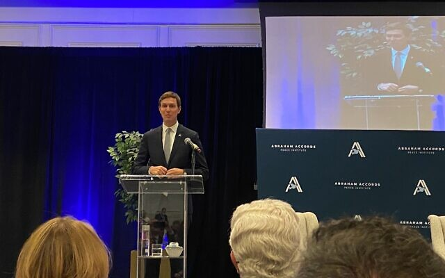 Former White House official Jared Kushner speaks at an event in Washington marking the one-year anniversary of the Abraham Accords, on September 14, 2021. (Jacob Magid/Times of Israel)
