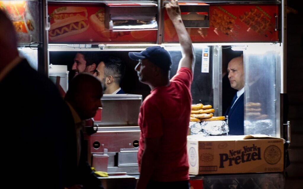 Prime Minister Naftali Bennett strolls down 5th Avenue in Manhattan on September 27, 2021. (Shahar Azran)