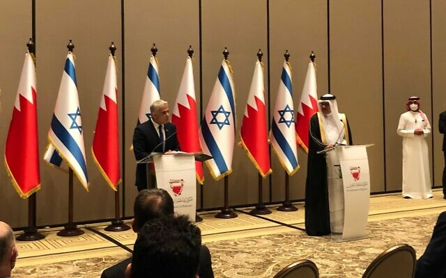 Foreign Minister Yair Lapid holds a press conference with his Bahraini counterpart, Abdullatif Al Zayani in Manama, Bahrain, on September 30, 2021. (Lazar Berman)
