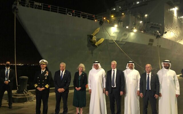 Foreign Minister Yair Lapid visits the USS Pearl Harbor in Bahrain, on September 30, 2021. (Lazar Berman)