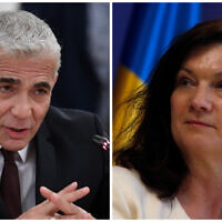 Israeli Foreign Minister Yair Lapid (left) and Sweden's foreign minister, Ann Linde, (right). (Alexander Nemenov/Pool via AP, AP/Darko Vojinovic))