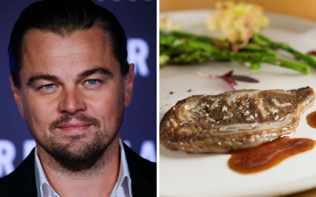 Leonardo DiCaprio has invested an undisclosed sum in Israeli cultured meat startup Aleph Farms and Dutch company Mosa Meat, according to an announcement in September 2021. In this composite image, DiCaprio poses for photographers as he arrives for the screening of The Revenant in Rome on January 15, 2016. And Aleph Farms unveiled a ribeye steak in February 2021. (AP/Gregorio Borgia, and Aleph Farms)