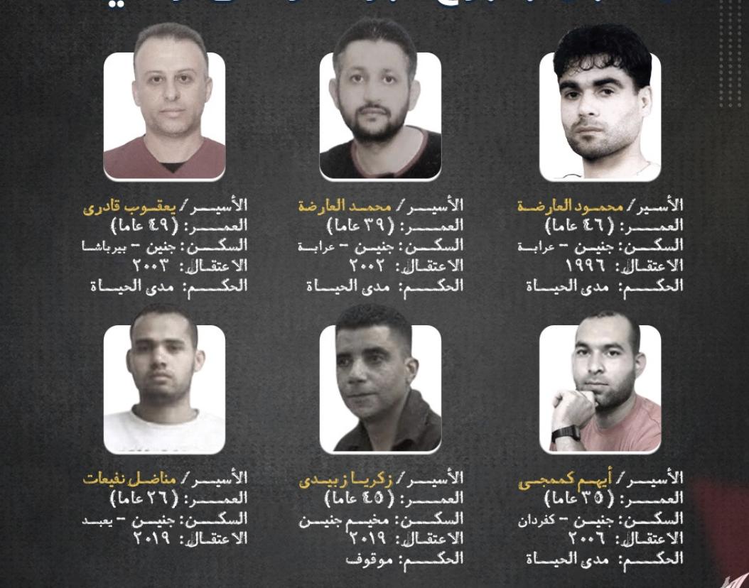 The six Palestinian security prisoners who escaped from Gilboa prison on Monday, September 6, 2021. Clockwise from top left: Yaqoub Qadiri, Mohammad al-Arida, Mahmoud al-Arida, Iham Kamamji, Zakaria Zubeidi, and Munadil Nafiyat (Screenshot: Palestinian Prisoners' Media Office)