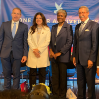 UN Ambassadors from Israel Gilad Erdan, from the UAE Lana Nusseibah, from the US Linda Thomas-Greenfield, from Morocco Omar Hilale, and from Bahrain Jamal Al Rowaiei at a New York event marking the one-year anniversary of the signing of the Abraham Accords, September 13, 2021. (Jacob Magid/ Times of Israel)