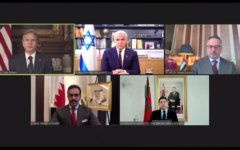 (Clockwise from top left) US Secretary of State Antony Blinken, Foreign Minister Yair Lapid, UAE diplomatic adviser Anwar Gargash, Bahrain's Ambassador to the US Sheikh Abdullah bin Rashid al-Khalifa and Moroccan Foreign Minister Nasser Bourita in a virtual event marking the one-year anniversary of the Abraham Accords on September 17, 2021. (Screen capture/YouTube)