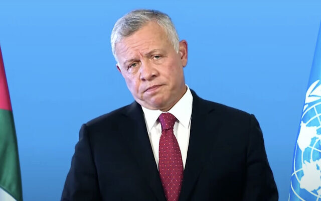 Jordan's King Abdullah addresses the UN General Assembly in a pre-recorded speech aired on September 22, 2021. (Screen capture: YouTube)