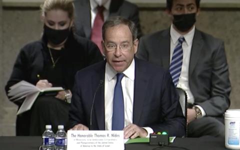 US President Biden's Ambassador to Israel Tom Nides testifies before the Senate Foreign Relations Committee on September 22, 2021. (Screen capture/Senate Foreign Relations Committee)